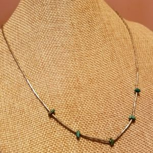 Vintage Liquid Sterling Silver Turquoise Necklace